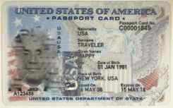 Sample U.S. Passport Card Front
