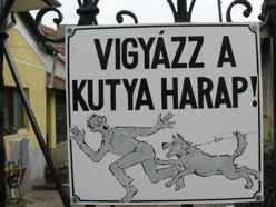 Hungarian-Beware of Dog sign-Tokay