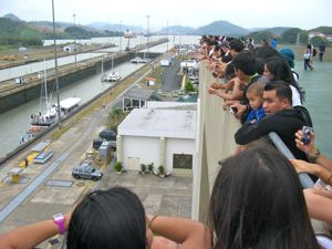 Panamanians visit the locks too - School Kids on a field trip
