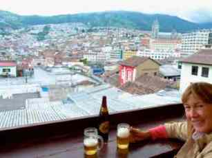 Roof top hostel bar with a great view of Quito, Ecuador