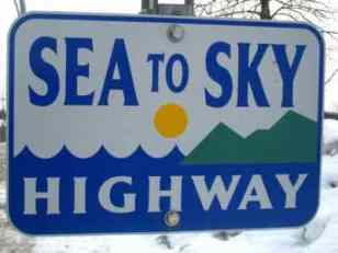 Sign for Sea to Sky Highway British Columbia