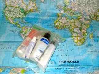 Airport security requires only 100 ml of liquids in a zip-top bag