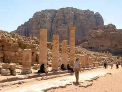 Colonnaded street in Petra, Jordan