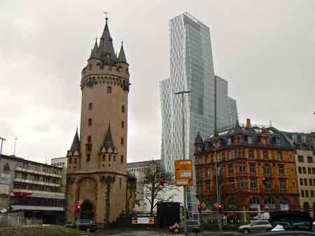 Frankfurt old city wall tower and new skyscraper