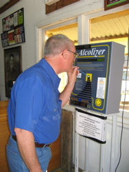 Breathalyzer check for wine tasting safety