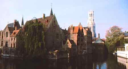 Bruges, canals and the belfriy tower