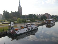 Elblag River with city and canal boats