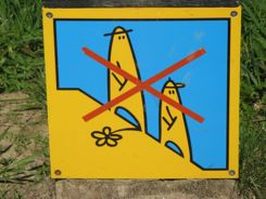 Keep off the mounds sign - Kernave Lithuania- Kernave Lithuania