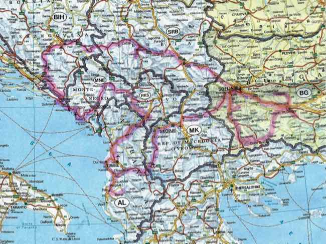Map of Balkan Peninsula