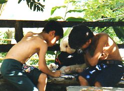 Nepali boys writing in journal to the monkey