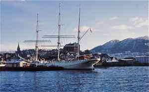 Bergen Harbor with tall ship Statsraad Lehmkuhl