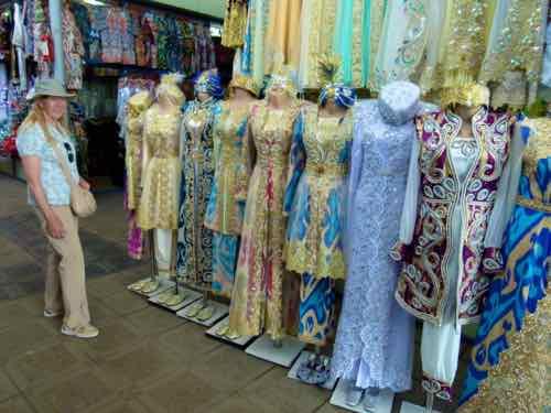 Silk dresses Tashkent bazaar