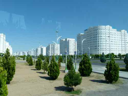 Marble-clad apartment buildings in Ashgabat, Turkmenistan