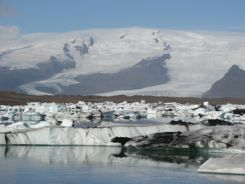 Vatnajokull (glacier) with Jokulsarlon - an iceberg filled lake in front