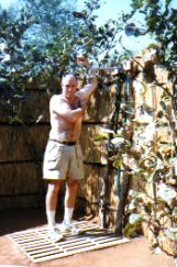 Zambia outdoor shower in tented camp