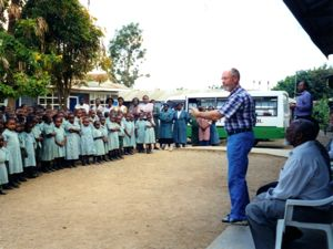 Mark speaks to school children in Kenya