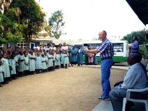 Mark speaks to school children in Kenya