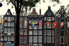 Old center of Amsterdam with tall skinny houses