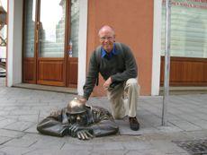 Art in Bratislava pops out of the sidewalk