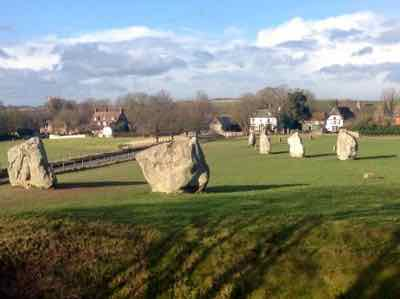 Avebury Stone Circle you can see the road and the Pub in the background