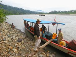 Boarding the river boat for eight hours from Amazonia Lodge to Manu Wildlife Lodge