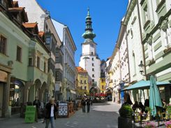 Cafes on side streets in Bratislava
