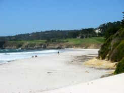 The beach at Carmel - Pebble Beach Golf Links in background
