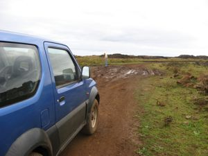 Checking the road conditions on Easter Island