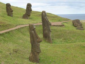 Unfinished Moai in the Rano Rarku volcano.