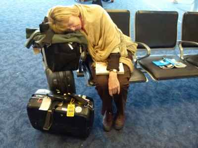 Fatigue after flights might leave you sleeping in the airport on layovers between flights