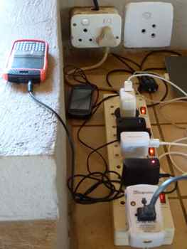Power strips in tented camps can get crowded when generator is on.