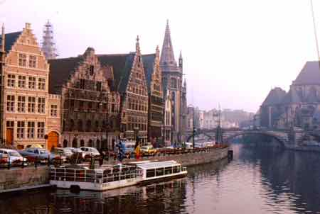 Ghent has classic Flemish buildings on the Leie River