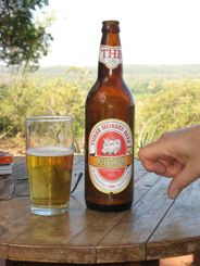 Pointing at Three Horse Beer in Madagascar