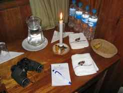 Jungle lodges have candles for light, generators to charge cameras