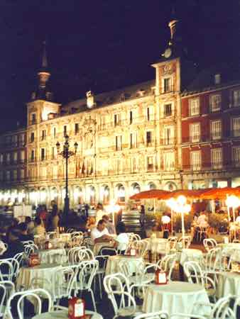 Plaza Mayor for tapas at night in Madric