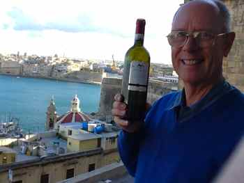Mark finds Maltese Falcon Merlot in VallettaMalta