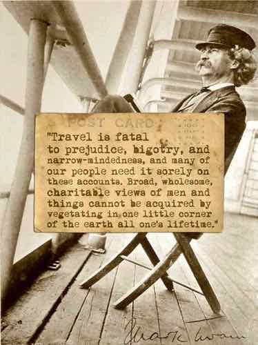 Historical photo - Mark Twain with a travel quote