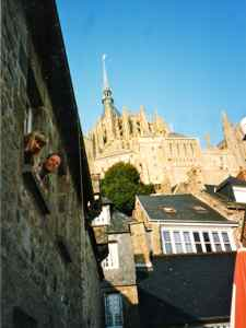 There are small hotels on Mont Saint Michel - Wee're waving from the window.