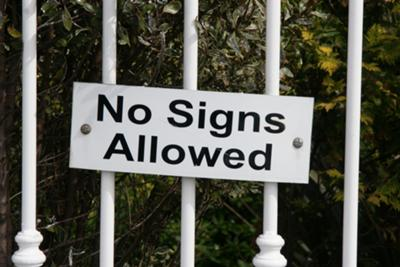 No signs allowed