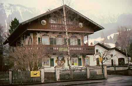 Houses In Oberammergau have distinctive wall paintings