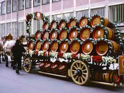Oktoberfest beer barrels on parade wagon