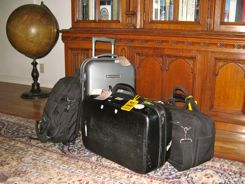 Carry-on size bags ready for travel
