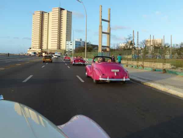 Cuban classic cars on the Malecón