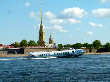 Peter and Paul Fortress across the Neva River in St. Petersburg
