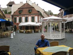 Find free wifi at local cafes like this one in Eger, Hungary