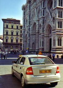 Driving to our hotel near the Duomo in Florence