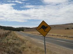 Kangaroo roadsign, road to Barossa, Australia