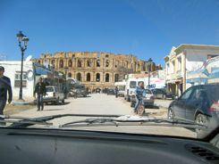 Driving into El Jem Tunisia