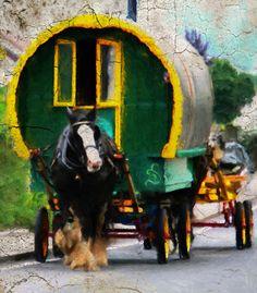 Romany horse cart in Romania