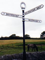 Both directions lead to Rothesay, Scotland